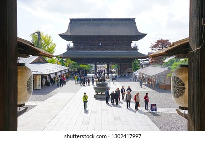 NAGANO, JAPAN -25 OCT 2018- Day view of the Zenko-ji compound, a landmark historic Buddhist temple located in Nagano, Japan. It is a pilgrimage site.