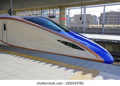 NAGANO, JAPAN -25 OCT 2018- View of a Shinkansen high-speed bullet train at the Nagano Station (Nagano-eki), a railway station in Nagano City, Japan, operated by East Japan Railway Company (JR East).