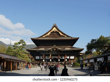 Nagano, Japan- 5 November,2018 : People walking at the Landmark of Nagano city , Zenko-ji temple with beautiful heritage architecture on the sunny day on 5 November,2018 in Nagano, Japan