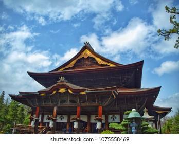Nagano, Japan - April 16, 2018 : Zenkoji temple on a blue sky background