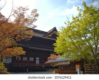 Nagano, Japan - April 16, 2018 : A view of Zenkoji temple from the east side