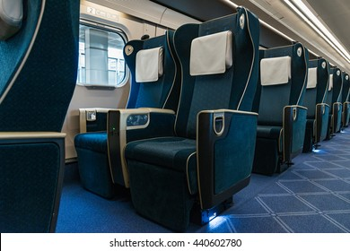 "NAGANO , JAPAN - APRIL 8,2016 : Green seats of E7 Series  bullet (High-speed or Shinkansen) train. This train services as ""Kagayaki(Shine)"" for Hokuriku Shinkansen line (Tokyo - Kanazawa route)."