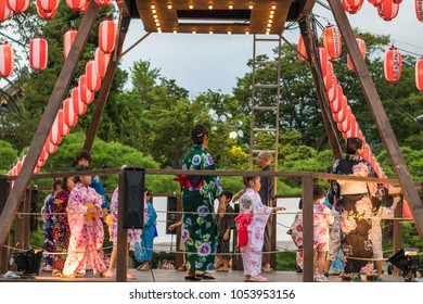 Nagano, Japan - August 15 , 2017 :  People celebrating  Bon-Odori festival in Zenkoji temple ,the famous temple and the old town of Nagano, Japan.