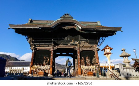 Nagano, Japan - Dec 29, 2015. People coming to Zenkoji Temple in Nagano, Japan. Zenko-ji was founded before Buddhism in Japan split into several different sects.