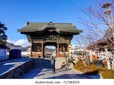 Nagano, Japan - Dec 29, 2015. People visit Zenkoji Temple in Nagano, Japan. Zenko-ji was founded before Buddhism in Japan split into several different sects.