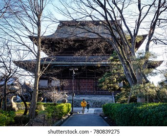 Nagano, Japan - Dec 29, 2015. People walking at Zenkoji Temple in Nagano, Japan. Zenko-ji was founded before Buddhism in Japan, split into several different sects.