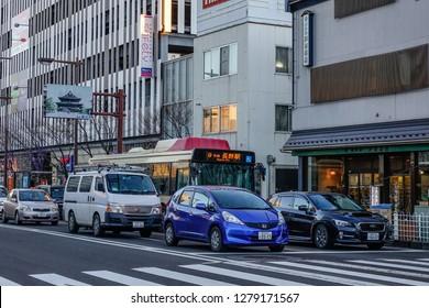 Nagano, Japan - Dec 30, 2015. Street of Nagano, Japan. Nagano evolved as a temple town around Zenkoji, one of Japan most popular temples.
