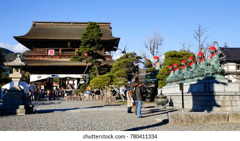 Nagano, Japan - Dec 30, 2015. People praying at Zenkoji Temple in Nagano, Japan. Zenko-ji was founded before Buddhism in Japan, split into several different sects.