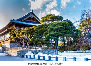 Nagano, Japan - February 04 , 2016 , old wooden house near Zenko-ji Temple complex