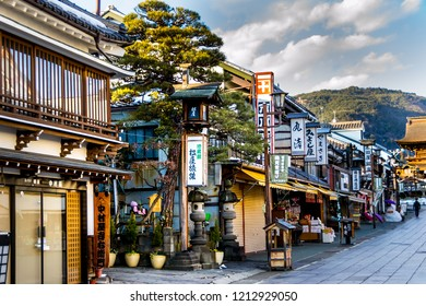 Nagano, Japan - February 04 , 2016 ,Old wooden houses and pedestrian walk street with souvenir shops near   Zenko-ji Temple complex