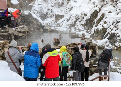 NAGANO, JAPAN - JANUARY 27, 2018: People watch and take a photo of monkeys in hot springs with snow around in Jigokudani Monkey Park (The Snow Monkey Park) in Nagano Prefecture, Japan in winter