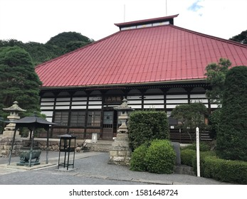 """Nagano, Japan - July 23, 2019 : Ganshoin Temple in Obuse. Katsushika Hokusai painted """"Phoenix Glaring in All Directions"""" on the ceiling in 1848 at the age of 89."""