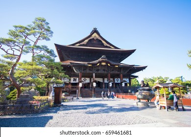 Nagano , JAPAN - JUNE 11, 2017: Zenkoji Temple  is one of the most famous and popular temples in Nagano Japan.
