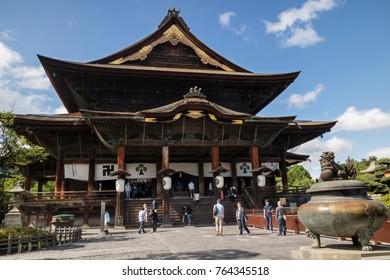 Nagano - Japan, June 3, 2017:  Main hall of the important Buddhist Zenkoji temple in Nagano