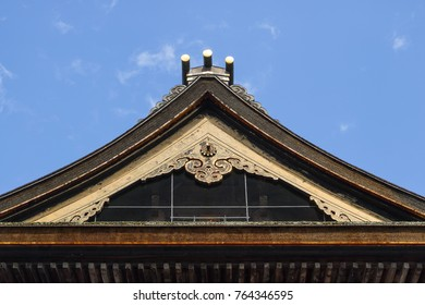 Nagano - Japan, June 3, 2017:  Decorated roof top of the important Buddhist Zenkoji temple
