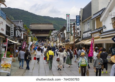 Nagano - Japan, June 3, 2017: Visitors crowd the main street lined with tourist shops leading to the Buddhist Zenkoji Temple
