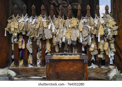 Nagano - Japan, June 3, 2017:  Waraji or traditional straw sandals hung as offerings on the Niomon Gate to the important Buddhist Zenkoji temple