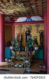 Nagano - Japan, June 5, 2017:  Interior of a Buddhist temple at the grounds of Zenkoji in Nagano