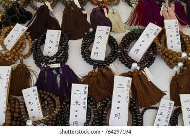 Nagano - Japan, June 5, 2017: Traditional  Japanese Buddhist prayer beads for sale at the Zenkoji temple