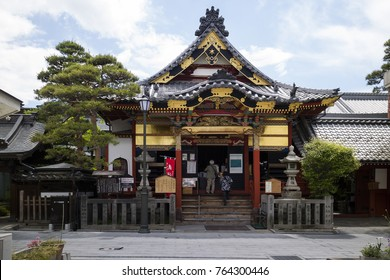 Nagano - Japan, June 5, 2017:  Sub temple at the grounds of the Buddhist Zenkoji temple in Nagano