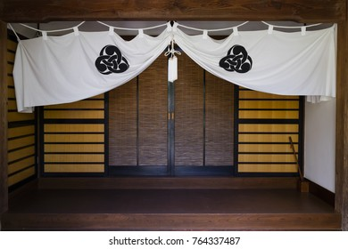 Nagano - Japan, June 5, 2017: White temple curtain with a white knot at the Buddhist Zenkoji temple in Nagano