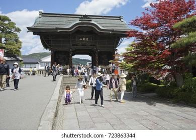 NAGANO, JAPAN - MAY 5, 2016 : Main gate and people visit Zenkoji Temple in Nagano, Japan.