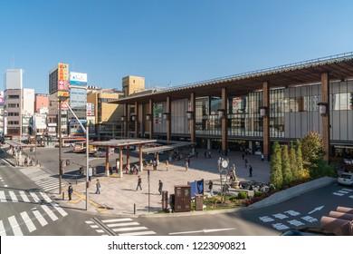 NAGANO, JAPAN - November 3, 2018 : Nagano Station Zenkoji gate side in Nagano City, Japan. The station is the main railway terminal of Nagano Prefecture.