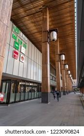 NAGANO, JAPAN - November 3, 2018 : Nagano Station Zenkoji gate in Nagano City, Japan. The station is the main railway terminal of Nagano Prefecture.