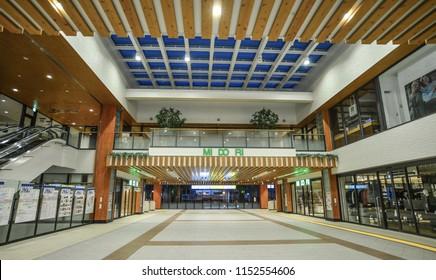Nagano, Japan - Oct 10, 2017. Interior of JR Station in Nagano, Japan. Nagano is a mountainous, landlocked prefecture in the center of Honshu.