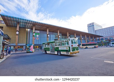 Nagano, Japan - October 2018:Nagano Station, Zenkoji-guchi Entrance, there are many of express bus depart from this side.