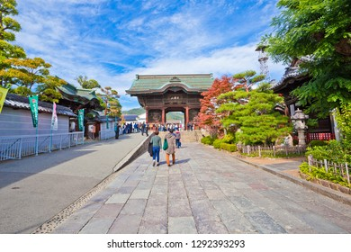 Nagano, Japan - October 23, 2018 : Zenkoji Temple is one of the most important and popular temples in Japan. It was founded in the 7th century.