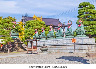 Nagano, Japan - October 23, 2018 : Buddha Statues in Zenkoji temple, the temple is one of the most important and popular temples in Japan. It was founded in the 7th century.