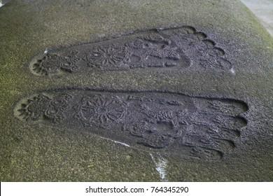 Nagano - Japan,June 3, 2017:  Buddhas footprint carved in a stone at Zenkoji temple