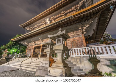 Nagano Prefecture, Japan - August 03, 2017: Late night side view without tourists of Sanmon gate at Zenko-ji Temple complex in Nagano city