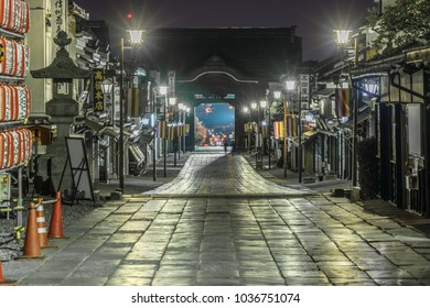Nagano Prefecture, Japan - August 03, 2017: Late night view of Nakamise-dori street and Niomon gate. Zenko-ji Temple complex in Nagano City