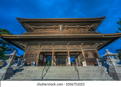 Nagano Prefecture, Japan - August 3, 2017: Blue hour without tourists, wide angle view of Sanmon Gate  of Zenko-ji Temple complex in Nagano city.