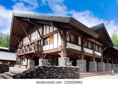 Nagano Prefecture ,Japan - May 2th ,2018 : building at Kamikochi in Japan