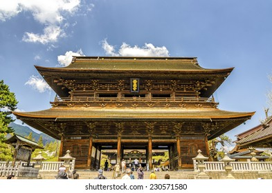 NAGANO,JAPAN - 23 April,2014 :The Sanmon Gate is considered an Important Cultural Property. Reconstruction of the Sanmon Gate began on October 1, 2002 and was scheduled to end on December 31, 2007.