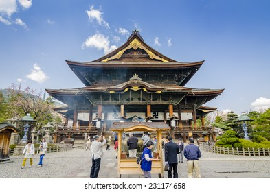 NAGANO,JAPAN  - 23 April,2014: Zenkoji Temple in is one of the most important and popular temples in Japan. It stores the first Buddhist statue ever to be brought into Japan: