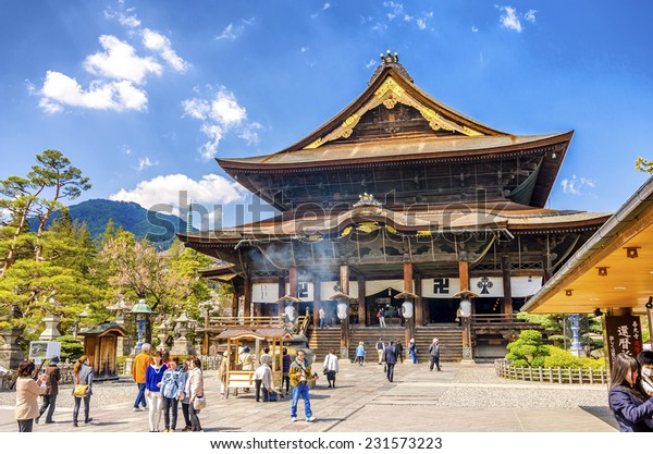 NAGANO,JAPAN - 23 April,2014: Zenkoji Temple in is one of the most important and popular temples in Japan. It stores the first Buddhist statue ever to be brought into Japan.