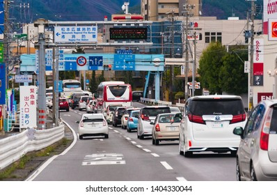 NAGANO,JAPAN - APRIL 15,2018 ; Traffic jam at downtown in Matsumoto, Japan. Matsumoto is a city located in central Nagano Prefecture in the Chubu region.