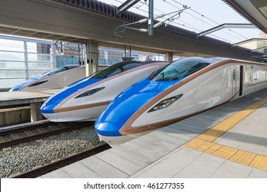 NAGANO,JAPAN-APRIL 9,2016: E7 Series bullet (High-speed or Shinkansen) trains.This train services as Kagayaki(Shine) for Hokuriku Shinkansen line(Tokyo - Kanazawa route).