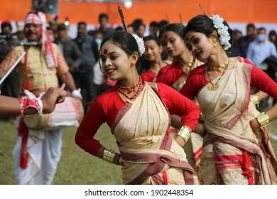 Nagaon, Assam, India - 26 Jan 2021: Bihu dancers performs Bihu dance during the celebration of 72nd Indian Republic Day in Assam.