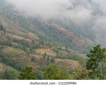 Nagarkot mountains in the morning in the fog during late spring season