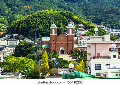 Nagasaki City, Nagasaki, Japan. Photo taken on November 12, 2017. Urakami Cathedral surrounded by the community.