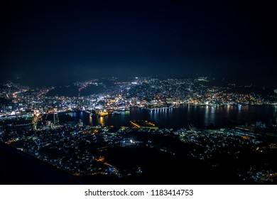 Nagasaki city night view from the top of Nagasaki Ropeway.