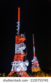Nagasaki, Japan - 14JUL2018:  Radio towers at MT Inasa in Nagasaki, Japan at night..