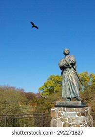 NAGASAKI, JAPAN - APRIL 6: The eagle and statue of Sakamoto Ryoma in Kazagashira Park on April 6, 2014 at Nagasaki, Japan. Sakamoto Ryoma is a prominent figure in Japan.