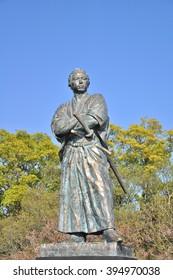 NAGASAKI, JAPAN - APRIL 6: The statue of Sakamoto Ryoma in Kazagashira Park on April 6, 2014 at Nagasaki, Japan. Sakamoto Ryoma is a prominent figure in Japan.