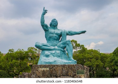 Nagasaki, Japan : August 2014 - Statua della Pace at Peace Park.
